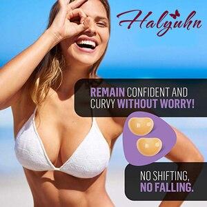 Image 2 - Halyuhn 1 ペアシリコーン接着剤ブラジャーパッド乳房インサート通気性プッシュアップ粘着ブラジャーカップのための水着 & ビキニ