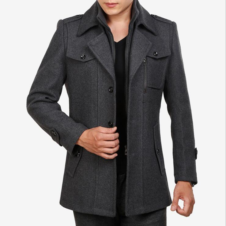 2019 Men's Winter Long Coat Fleece Jacket Men Wool Coat With Pockets Cashmere Stand Collar gray black large size 4XL