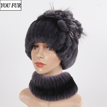 Hats-Sets Scarves Knitted Real-Fur Winter Women Fashion Warm Muffles-Caps Ladies New-Arrival