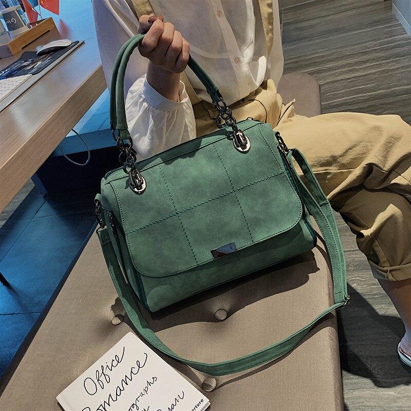 Matte Women Handbag Scrub Female Shoulder Bags Large Capacity Matcha Green PU Leather Lady Totes Boston Bag for Travel Hand Bags