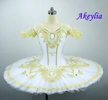 White Professional Ballet Costume Tutu Women/Girl Stage Performance Pancake Ballerina Customer Size Made
