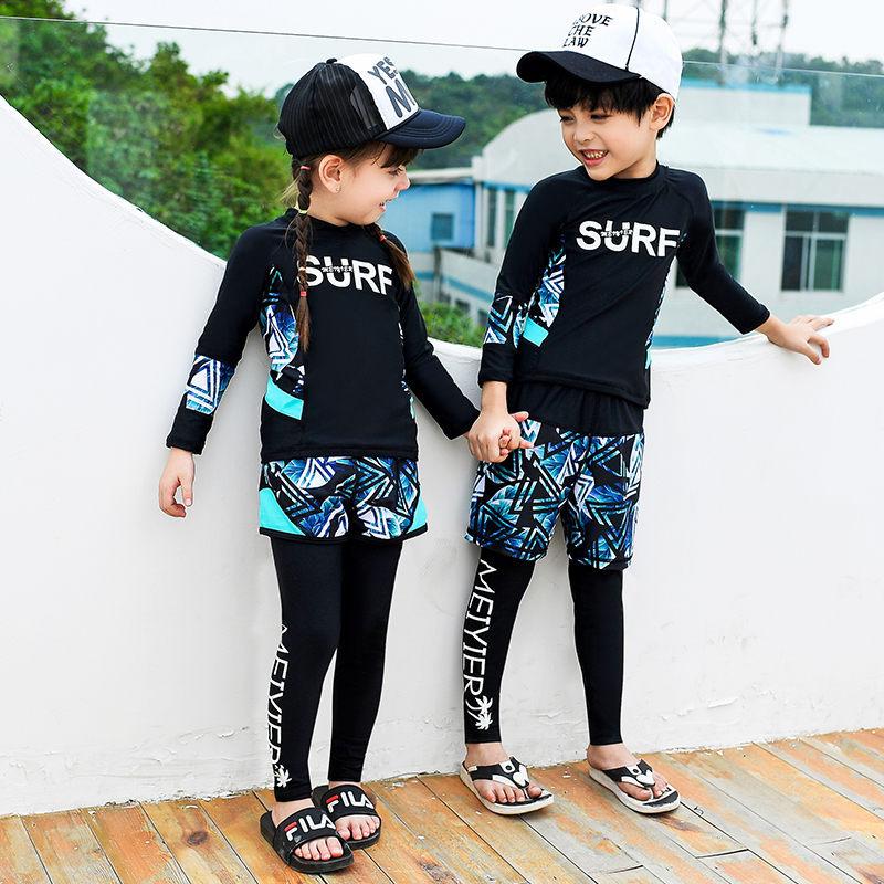 19 New Style Children Sun-resistant Long Sleeve Snorkeling Suit Girls BOY'S Split Type Swimsuit Swimwear Diving Suit Big Kid Stu