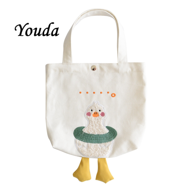 Youda Korean Style Canvas Bags for Women Winter New Lunch Bag Fashion All-match Handbag Female Cute Duck Pack for Girl