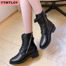 2019 autumn and winter new round head thick with Martin boots side zipper casual boots winter warm lace ladies ankle boots black недорого