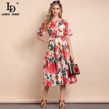 LD LINDA DELLA 2021 Summer Fashion Designer abito in cotone donna scollo a barchetta vita elastica abito elegante con stampa floreale rosa