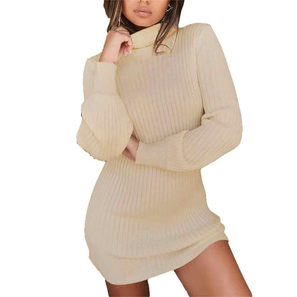 Forefair 터틀넥 긴 소매 스웨터 드레스 여성 가을 겨울 느슨한 튜닉 니트 캐주얼 핑크 그레이 옷 솔리드 드레스