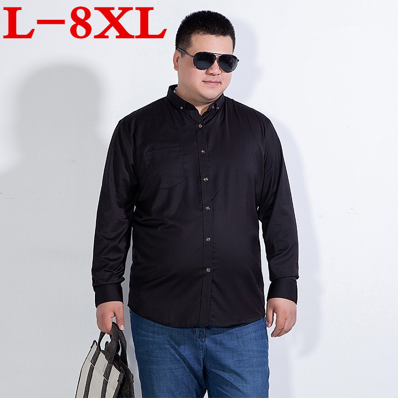 8XL 7XL Plus Size Spring Autumn Cotton Dress Shirts High Quality Mens Casual Shirt,Casual Men Plus Size Slim Fit Social Shirts