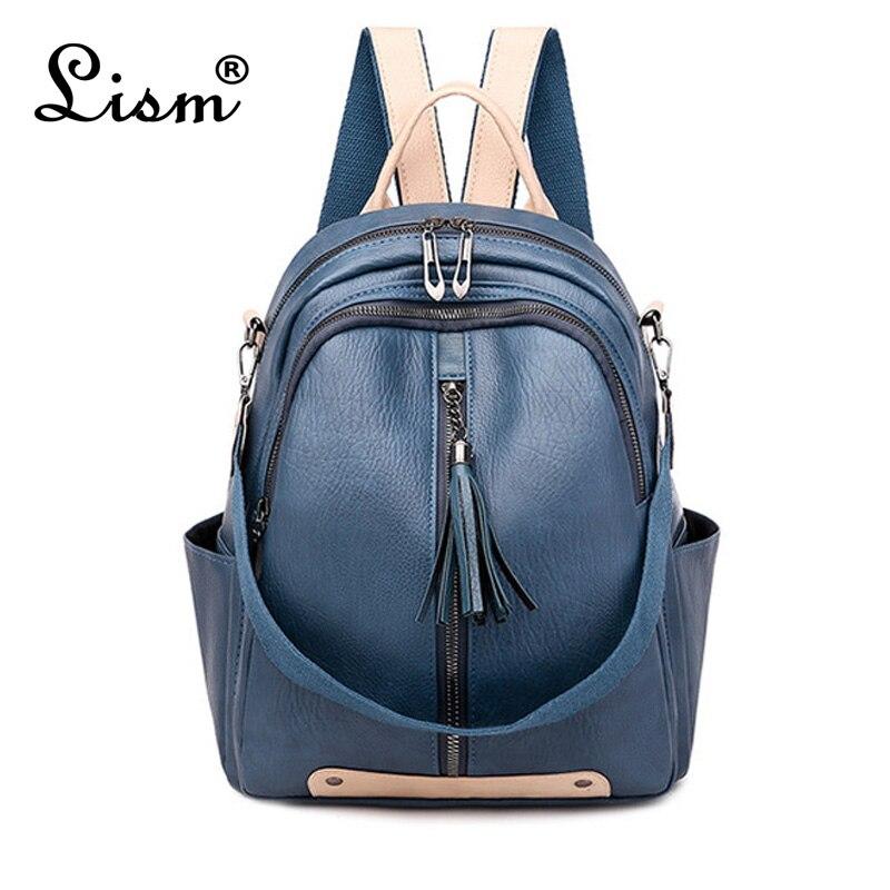 Brand LISM Women Backpack Luxury High Quality Designer Design Multifunctional Bag Fashion College Style School Bag Blue Main