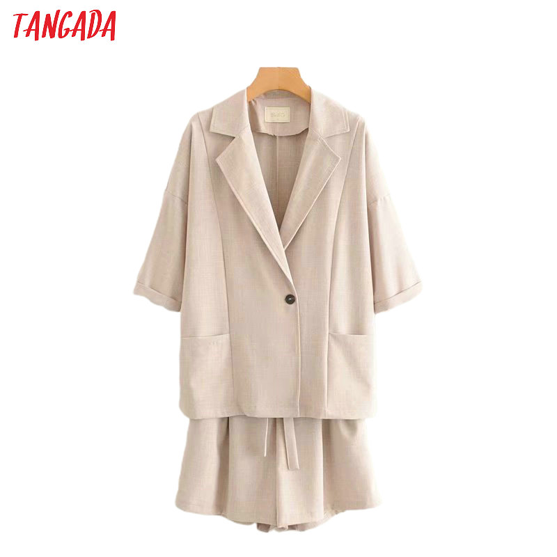 Tangada 2020 Summer Solid Suit Women Shorts Set Suit 2 Piece Set Sweet Top And Shorts High Quality 2G03
