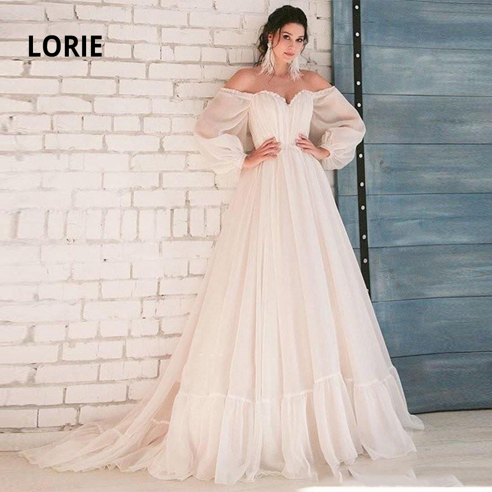 LORIE Off The Shoulder Long Sleeve Wedding Dresses Boho 2020 Chiffon Bridal Gowns Beach Back Lacing Princess Party Dress Ivory