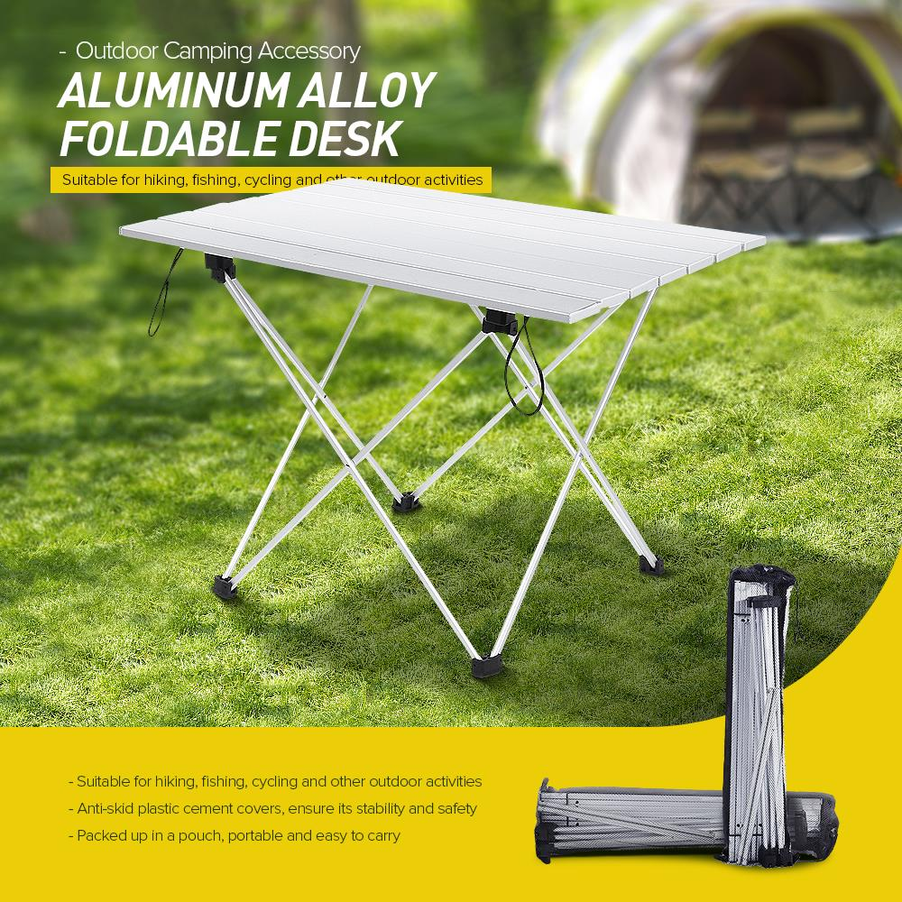 Picnic Table Aluminum Alloy Camping Desk Foldable Outdoor Desk Portable Mini BBQ Picnic Lightweight Anti-Skid Rectangle Table