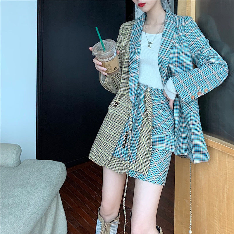 NiceMix Single Breasted Plaid Two-pieces Women Skirt Suit Casual Streetwear Female Sets Fashion Office Ladies Blazer Suits New