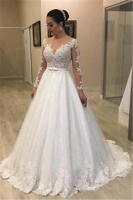 Sheer Long Sleeves Mermaid Wedding Dresses See Through Back Custom Two Pieces Bridal Gowns Modest Vestidos De Novia 2