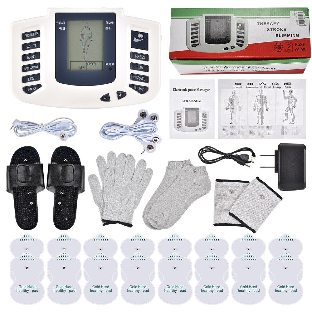 Ems corpo estimulador muscular elétrico dezenas acupuntura emagrecimento massageador 16 almofadas terapia digital para o pescoço traseiro pé cuidados de saúde