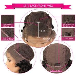 Image 5 - Shumeida インドディープウェーブレースフロントウィッグ事前摘み取らバージン人毛ウィッグベビーヘアー #2 色のレースの前頭かつら漂白ノット