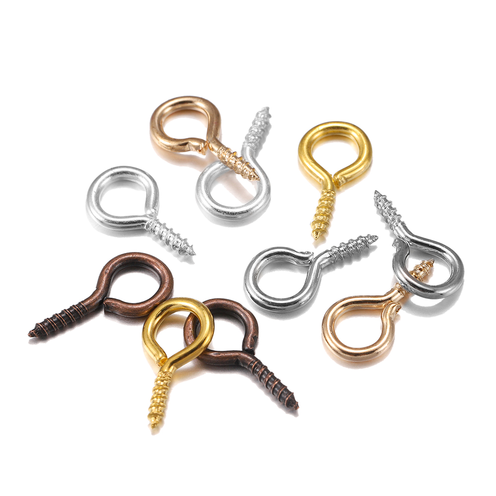 200pcs Small Tiny Mini Eye Pins Eyepins Hooks Eyelets Screw Threaded Gold  Clasps Hooks Jewelry Findings For Making DIY