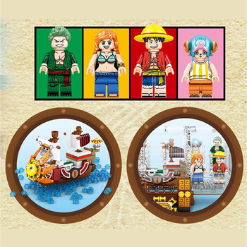Lepining Pirates Of The Caribbeanes Ships in Bottles ONE PIECE: THOUSAND SUNNY Creative Building Block bricks Toy Model gift 2