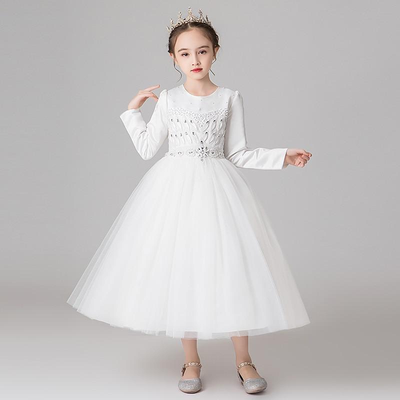 Manches longues robe de fille de fleur hiver hors blanc thé longueur robes de fête pour les petites filles