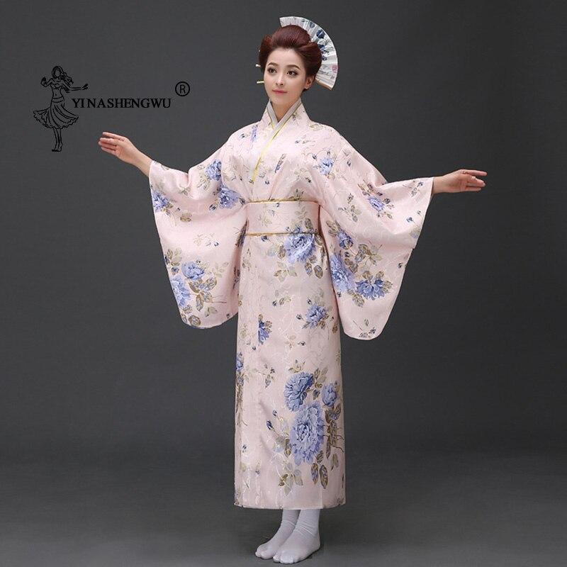 Japanese Traditional Floral Print Long Kimono Yukata Women Japan Femmes Stage Costume Cosplay Cotume  Asian Elegant Lady