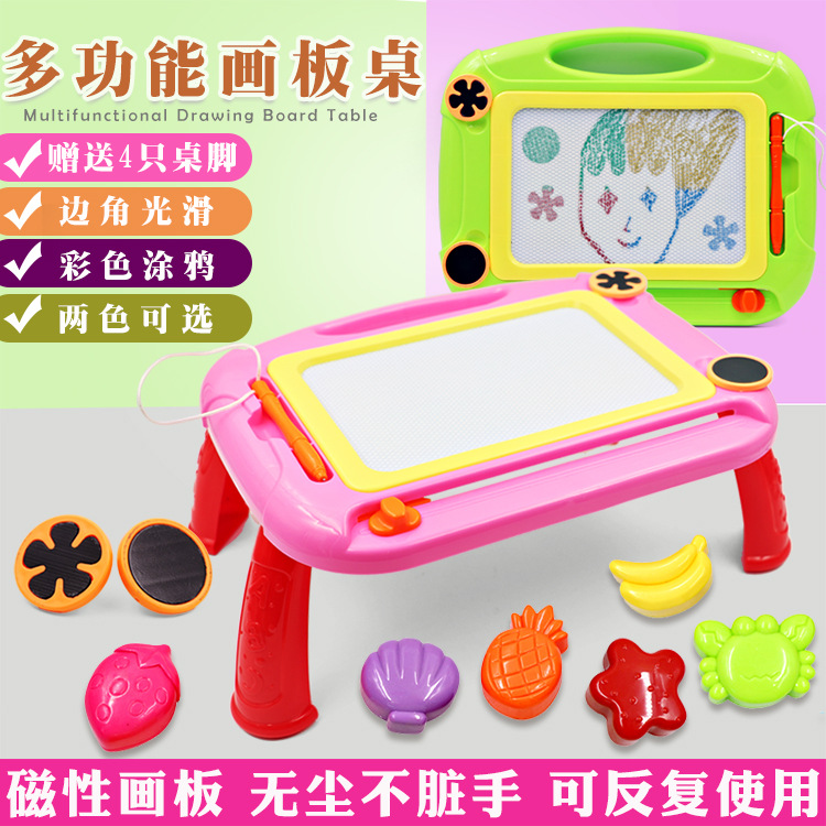 Children Magnetic Graffiti Braced Drawing Board Stamp Color Writing Board Plastic Early Education Painted Educational Toy