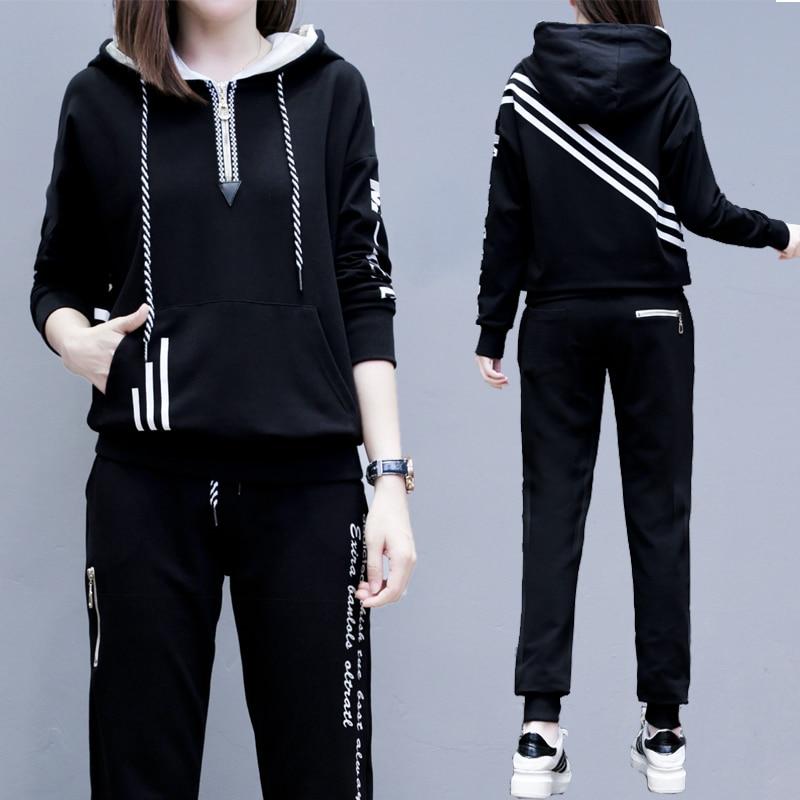 2019 Fashion Autumn Winter Women Tracksuits Outfits Hooded Sweatshirts + Long Pants 2 Piece Set Pockets Female Set Large Size