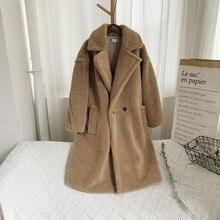 Новинка, плюшевое пальто из искусственного меха, длинное пальто для женщин, зимняя теплая меховая ветровка, толстое пальто из овечьей шерсти, манто для женщин, одежда kabka A40