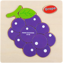 Sale Wooden 3D Fruit Jigsaw Wooden Grape Puzzle Educational Developmental Baby Kids Training Toy For your Children Babies Gifts(China)