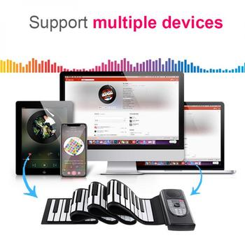 88 Keys MIDI Roll Up Piano Rechargeable Electronic Piano Silicone Flexible Keyboard Organ Built-in Speaker Support Bluetooth