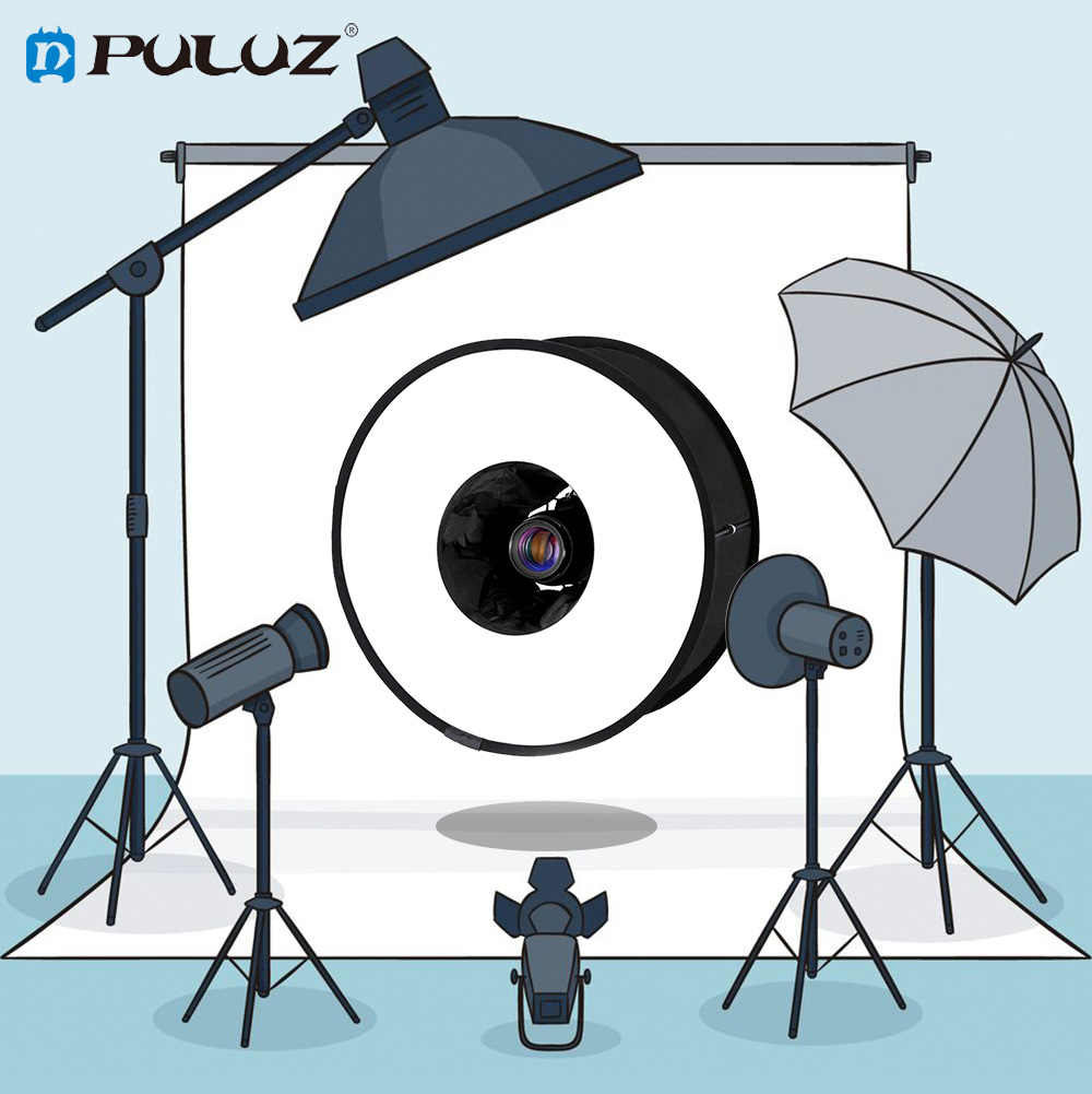 Puluz Fotografi Softbox 45 Cm Ring Light Kit Studio Kain Lampu Portable Dilipat Softbox dengan Stand Fotografi Kotak