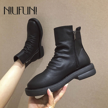NIUFUNI Sexy Black Chelsea Boots Fashion Round Toe Ankle Boots Women Zipper Slip On PU Women's Slim Spring Autumn Shallow Shoes vankaring new shoes 2018 spring autumn european and american style fashion women pu ankle boots for women chelsea date boots