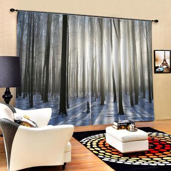 winter snow curtains 3D Curtain Luxury Blackout Window Curtain Living Room forest curtains