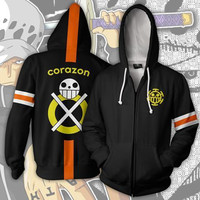 ONE PIECE Trafalgar Law Trafalgar D Water Law Hoodie Sweatshirts Long Sleeve Zipper Men Hoodie Cosplay Sweatshirt Jacket