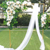 grand event outdoor stage backdrops metal rack frame with fake flowers decorative flower stand event party square arch DIY shelf