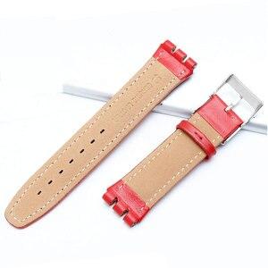 Image 3 - 17mm 19mm פרה עור להקת שעון לבן שחור חום אדום ורוד צמיד החלפת רצועת Fit דוגמית YCS YAS YGS