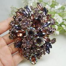 Moda roxo dupla gotículas grupo flor strass arte broche de cristal pingente de jóias