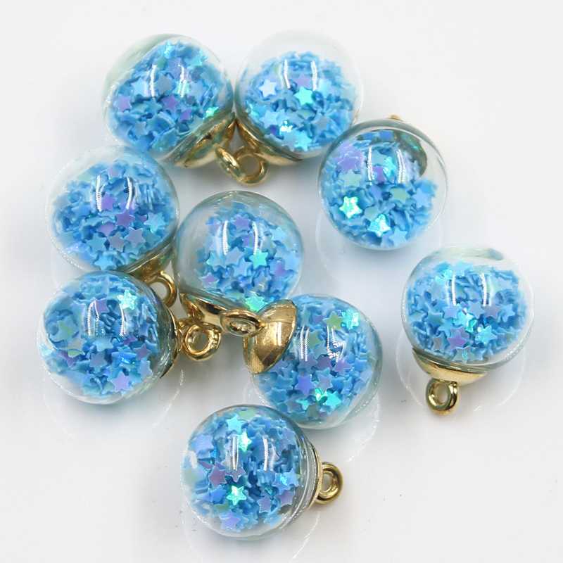 20pcs Charms Star Sequins Transparent Glass Ball 15mm Pendants Crafts Making Findings Handmade Jewelry DIY for Earrings Necklace 4