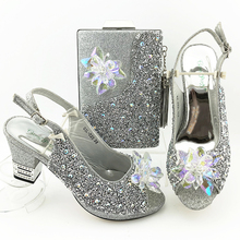 Shoes Matching-Bags Rhinestone Silver-Color African Women Nigerian Latest Bags-Set Best-Match