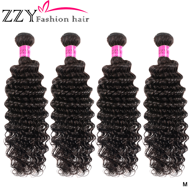 ZZY Fashion Hair Peruvian Deep Wave Hair Weave Bundles Natural Color Human Hair Bundles Non-remy Hair 4 Bundles Extensions
