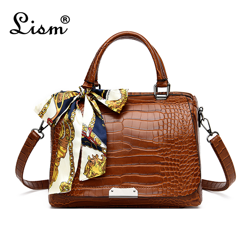 Women's Bag Luxury High Quality Crocodile Pattern Handbag 4 Color Brand Designer Large Capacity Boston Shoulder Messenger Bag Si