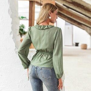 Image 4 - Simplee Vintage volants col en V femmes blouse chemise à manches longues à pois femme vert hauts élégant fête de vacances dames blouses