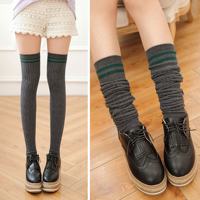 New Fashion Cotton Sexy Striped Thigh High Over The Knee Socks Long Stockings For Girls Ladies Women -MX8