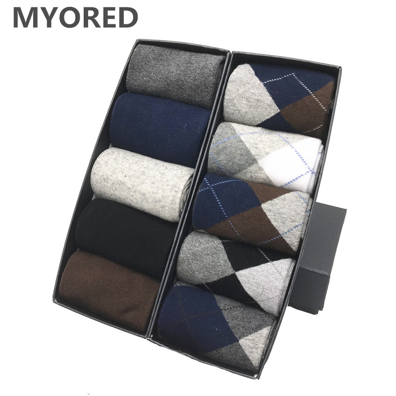 MYORED Drop Shipping Combed Cotton Socks  Men's Crew Business Socks Classical Solid Color Plaid SocksCalcetines De Hombre