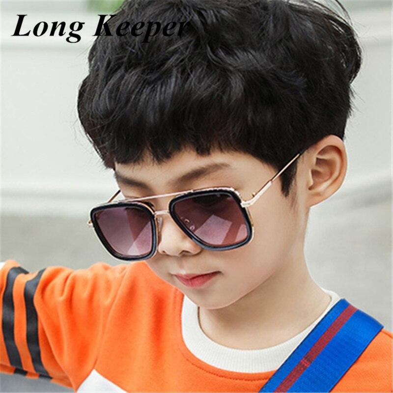 LongKeeper Kids Sunglasses Boys Girls Retro Punk Steampunk Brand Designer Goggles Alloy UV400 Tony Stark Iron Man Gafas de sol
