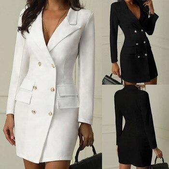 9 Color Sexy Black Formal Dress Office Lady Women Double Breasted Blazer Plus Size Slim Bodycon Work Wear Dress Droppship платье color block plus size work bodycon dress