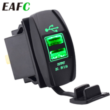 3.1A 12-24V LED Universal Car Charger Waterproof Dual USB Port Charger Socket Outlet for Motorcycle Car Auto Accessories Camping
