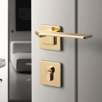 1 set Square Bedroom Door Handle with Lock Minimalist Interior Door Handle Lock Cylinder Security Mute Door Lock