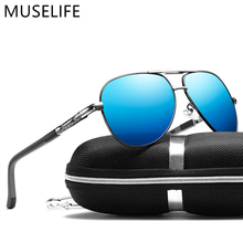 Muselife alumínio magnésio masculino óculos de sol masculino revestimento polarizado espelho óculos oculos masculino acessórios para homem