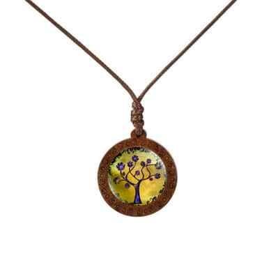 Family Tree of Life โดมแก้วไม้จี้สร้อยคอผู้หญิงเครื่องประดับสร้อยคอเชือกสร้อยคอสร้อยคอของขวัญ