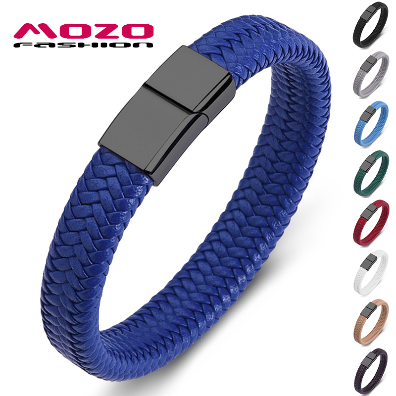 MOZO FASHION 2020 Punk Men Jewelry Blue Genuine Leather Bracelet Black Stainless Steel Magnetic Clasp Fashion Women Bangles 161