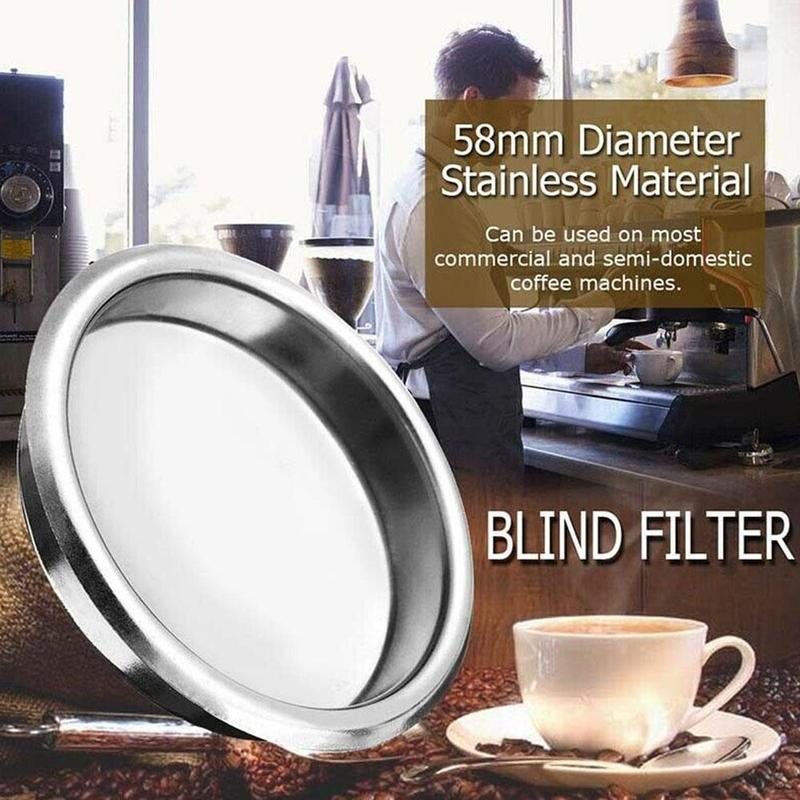 Stainless Steel Blind Coffee Machine Accessories 58mm Semi-automatic Coffee Machine Cleaning Blind Net
